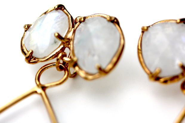 Detail photo of Prong set rose cut Rainbow Moonstone dangle earring in gold