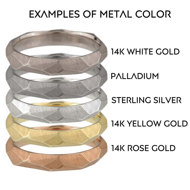 Men's Facet Ring - 6mm wide - white, yellow or rose gold