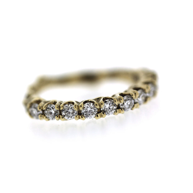 2mm diamond engagement half eternity band with unique organic texture and side viewing, detail shot of diamonds