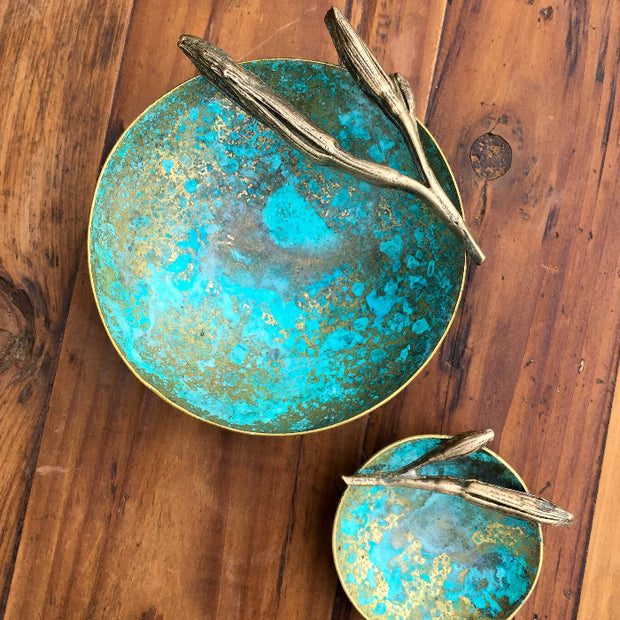 Brass & Verdigris Ring Dish with botanical detail