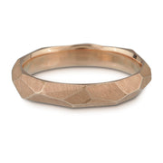 Men's Facet Ring - 4mm wide - white, yellow or rose gold