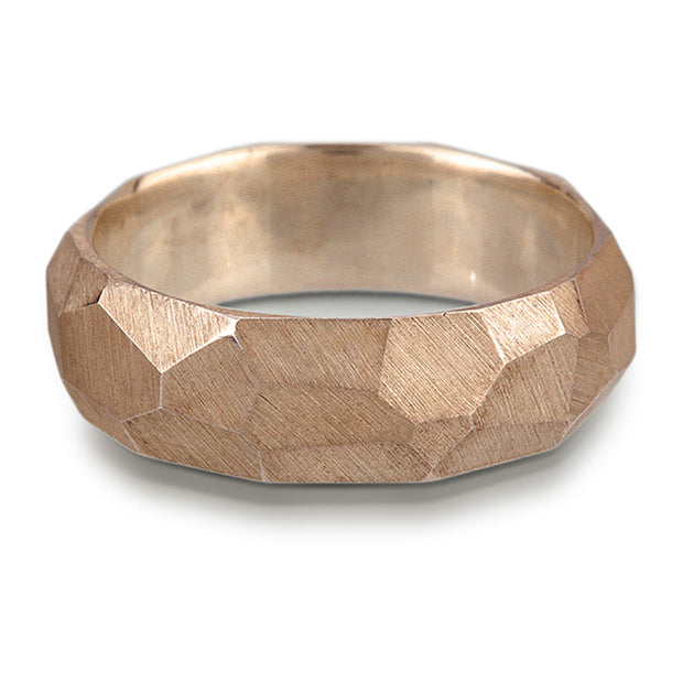 Men's Facet Ring - 7mm wide - white, yellow or rose gold