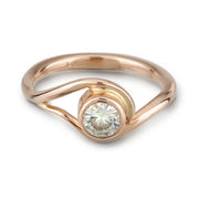 Rose Gold and Moissanite Engagement ring inspired by vines and waves