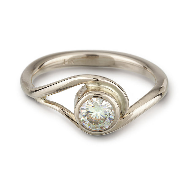 White Gold and Moissanite Engagement ring inspired by vines and waves