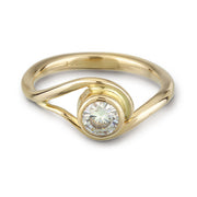 Yellow Gold and Moissanite Engagement ring inspired by vines and waves
