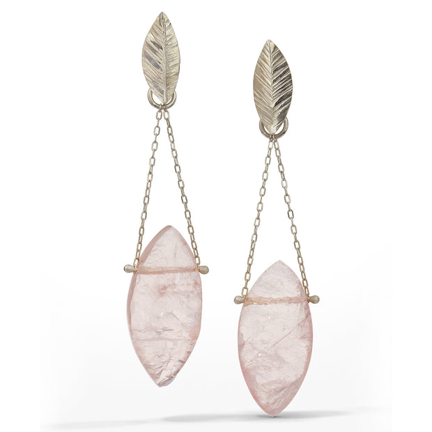 Chandelier Earring with marquise-shaped raw surface rose quartz stones freely hanging from delicate chain and small sterling silver leaves.