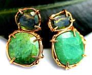 Lovely green earrings made with emerald, peridot and vermeil.