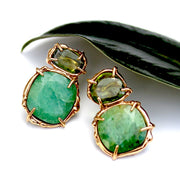 Gold, emerald and perdidot stud earrings by Katie Poterala.