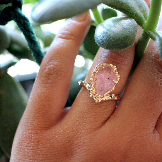 Pale pink sapphire engagement ring;  Ocean inspired, nautical or coral reef inspired  engagement ring