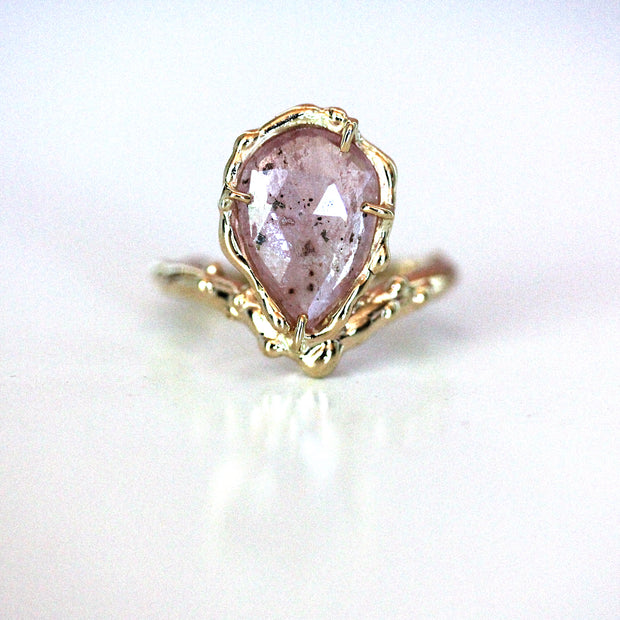 pink sapphire engagement ring with organic texture: unique engagement ring for the nontraditional woman