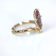 pink sapphire engagement ring side view