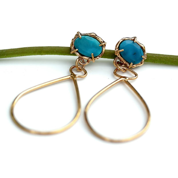 Prong set Turquoise and Gold Vermeil dangle earrings by Katie Poterala