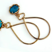 Detail photo of Prong set Turquoise + Gold Vermeil earrings