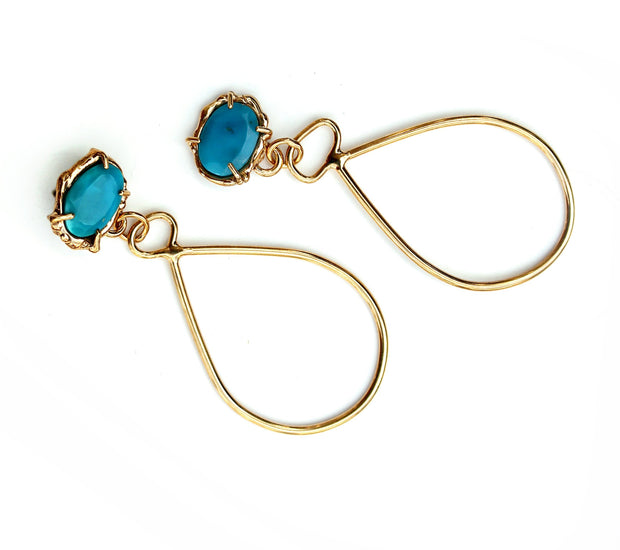 Prong set Turquoise + Gold Vermeil earrings with tear-drop shaped dangle