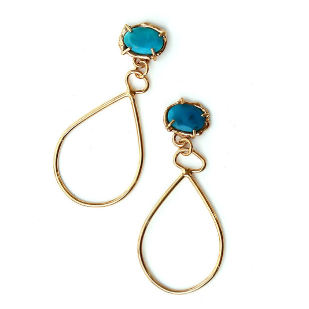 Turquoise and Gold Vermeil dangle earrings by Katie Poterala