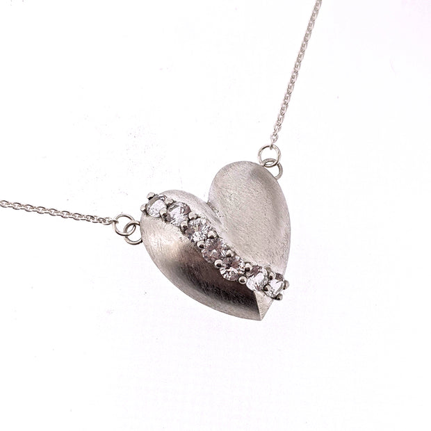 Studded Heart Necklace -White Sapphire