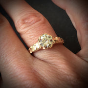 Moissanite Cobblestone Engagement Ring - 14k Yellow, White or Rose Gold
