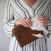 Emily Clutch - Brown & White