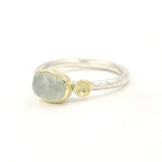 Luxe Lichen stacking ring - Green Moonstone
