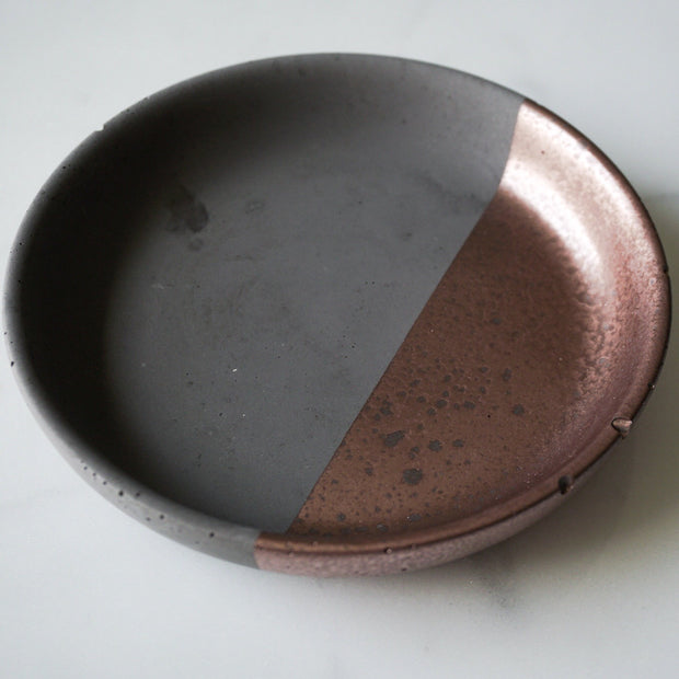 Round Concrete Jewelry Dish with Copper Dip