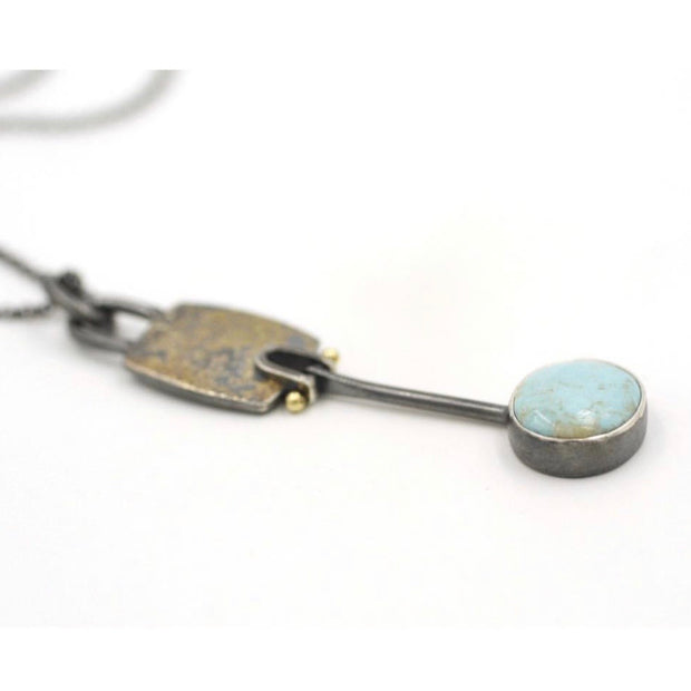 Lichen Hinged Turquoise pendant