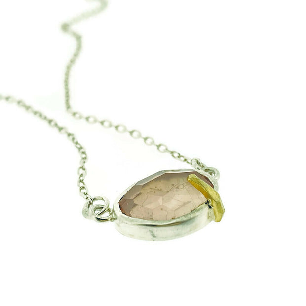 Pebble - Rose Quartz Rose Cut Necklace