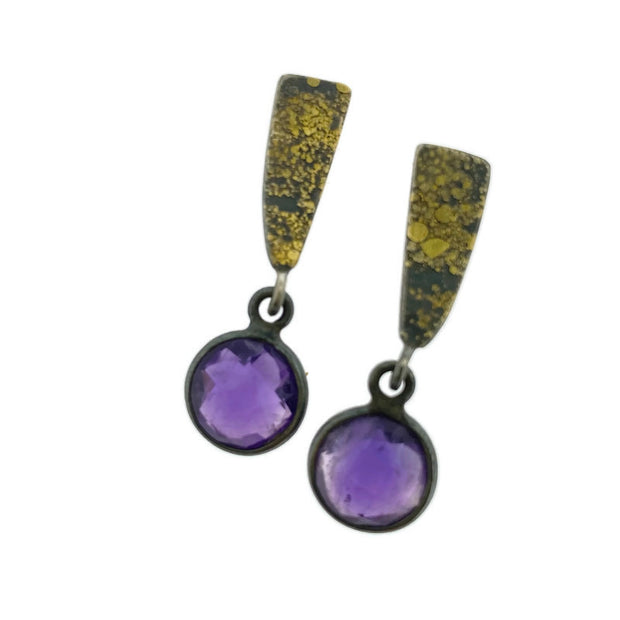 Fused Wedge Checkerboard Amethyst drop earrings
