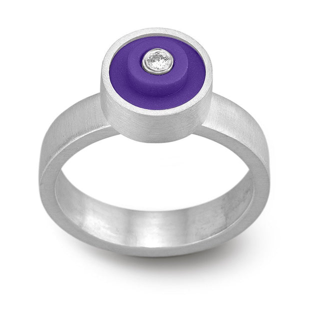 Small LEGO® dot ring with diamond