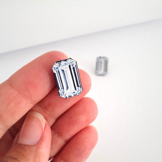 Emerald Cut Diamond Illustration - Stud Earring