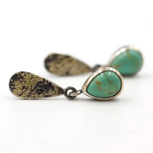 Fused Lichen Teardrop Kingman Turquoise earrings