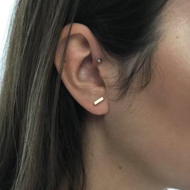 Bar Stud Earrings - 14k Gold