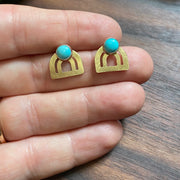 Turquoise Mini Bow Jacket Earrings