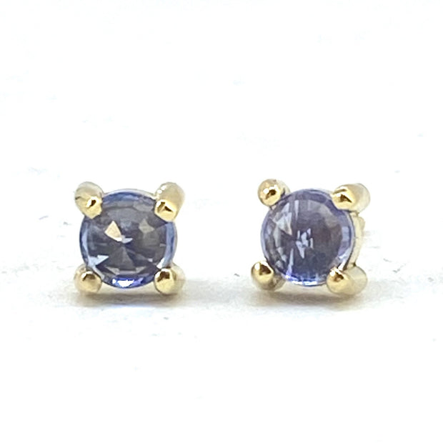14k Blue Sapphire - Round Stud Earrings