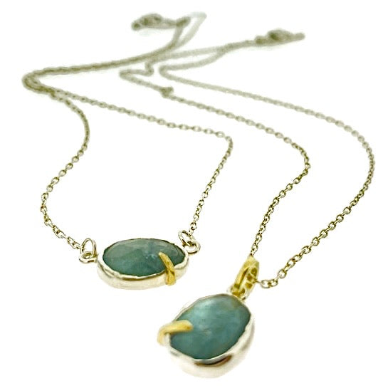 Pebble - Moss Aquamarine Rose Cut Necklace