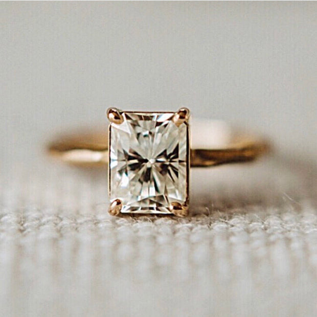 Radiant Cut Moissanite - Chiseled Engagement Ring