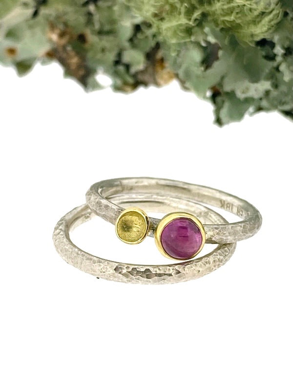 Luxe Lichen stacking ring set- Pink Sapphire