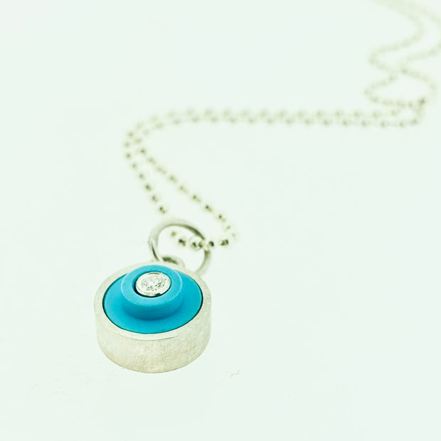 Small LEGO® dot pendant with diamond