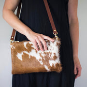Wylie - Cross Body Cowhide Bag - Brown & White