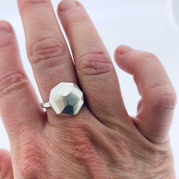 Faceted large dome ring