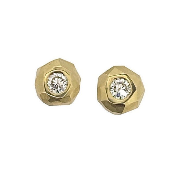 Chiseled Diamond or Moissanite Stud Earrings