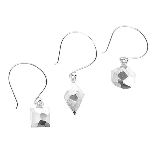 Faceted dangle earrings - round