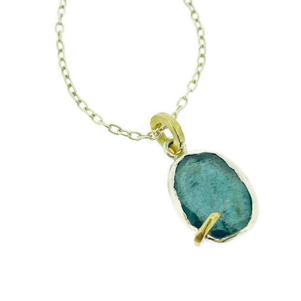 Pebble - Moss Aquamarine Rose Cut Pendant