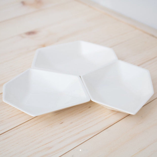 Geometric Ring Dish - White
