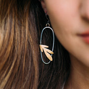 Leaf and Oval Earrings