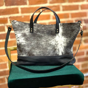 Ari Tote Bag - Salt & Pepper Cowhide