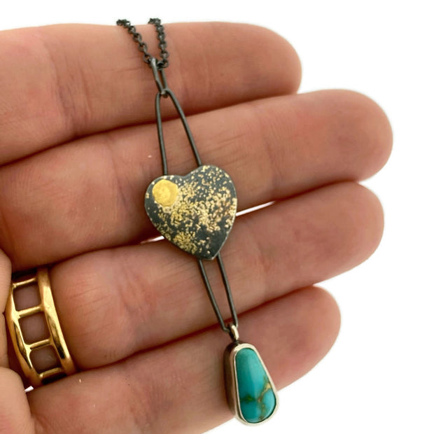 Fused Heart with Sonora Gold Turquoise pendant