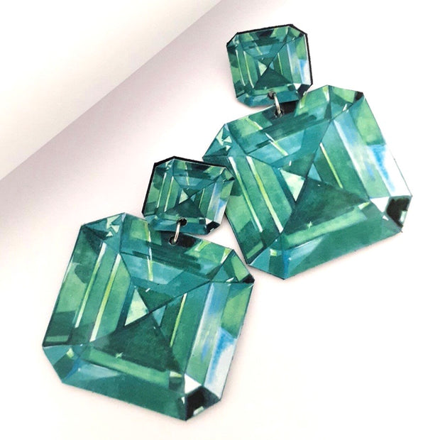 Emerald Illustration - Large Drop Earring