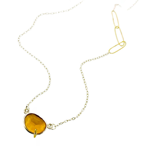 Pebble - Citrine Rose Cut Necklace