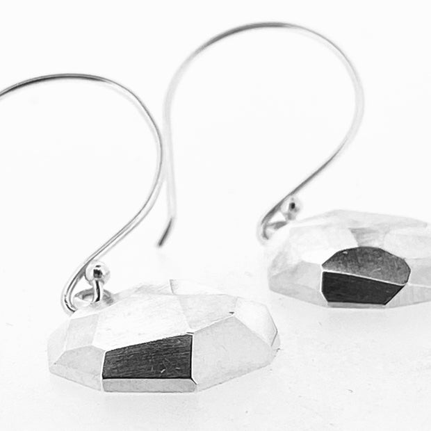Faceted dangle earrings - large round