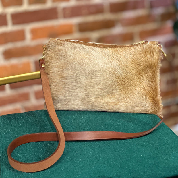 Wylie - Cross Body Cowhide Bag - Blonde